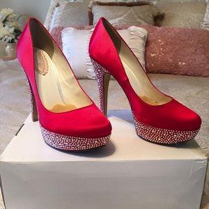 Shoes - Custom Red Rhinestone Heels